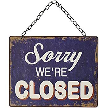 NEW DECO Sorry We Are Closed Metal Tin Sign Vintage