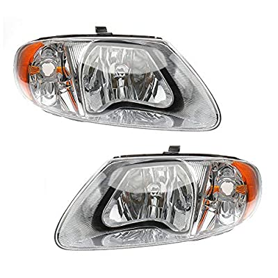 MAYASAF Headlight Assembly Fit 2001-07 Dodge Caravan/Grand Caravan, 2001-07 Chrysler Town & Country/01-03 Voyager, OE Replacement Headlamp Kit, Chrome Housing Amber Reflector Clear Lens (Left+Right): Automotive