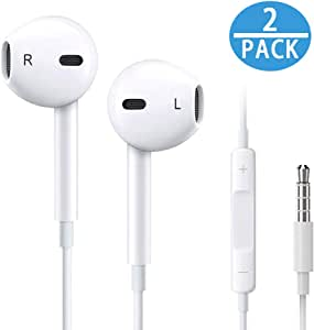 Earbuds/Earphones/Headphones, Premium in-Ear Wired Earphones with Remote & Mic Compatible with All 3.5MM Audio Devices MP3 MP4 MP5 [2 Pack]