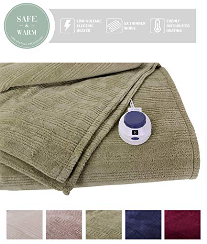 SoftHeat by Perfect Fit | Ultra Soft Plush Electric Heated Warming Blanket with Safe & Warm Low-Voltage Technology (Twin