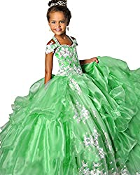 WZY Big Girls Halter Lace Appliques Ball Gowns Beaded Girls Pageant Dresses 12 US Light Blue