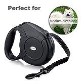 URPOWER 16.4 Feet Nylon Retractable Dog Leash with Nylon Ribbon Cord, Hand Grip, One Button Brake & Lock for Medium Dogs