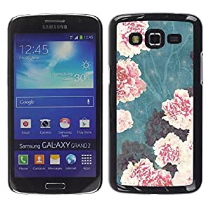LECELL--Funda protectora / Cubierta / Piel For Samsung Galaxy Grand 2 SM-G7102 SM-G7105 -- Vignette Begonia Pink Flowers --