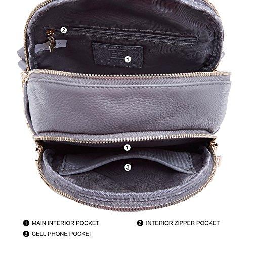 Mini Women BOYATU Shoulder Genuine Leather Grey for Backpack Bag Girls Travel Purses Black qU8w6UCx