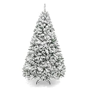 Best Choice Products 6ft Premium Snow Flocked Hinged Artificial Christmas Pine Tree Festive Holiday Decor w/Sturdy Metal Stand - Green 2