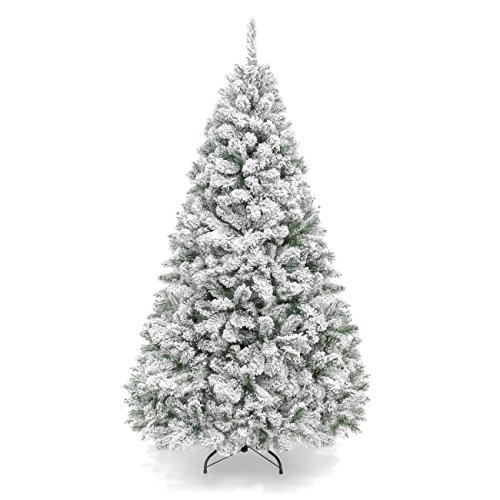 Best Choice Products 6ft Snow Flocked Hinged Artificial Christmas Pine Tree Holiday Decor with Metal Stand, Green (Christmas Tree Festive)