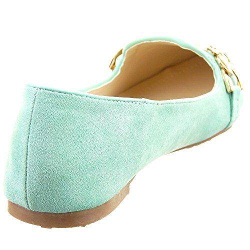 Sopily - Zapatillas de Moda Bailarinas Tobillo mujer Hebilla metálico Talón Tacón ancho 1 CM - Verde
