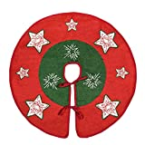 Primode Red Xmas Tree Skirt 30'', Woven Jacquard with Star Design, Holiday Tree Decoration