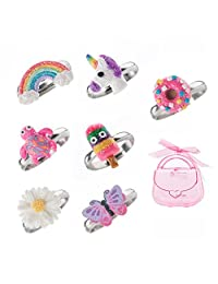 minihope Adjustable Rings Set for Little Girls, Colorful Cute Unicorn Rings for Kids