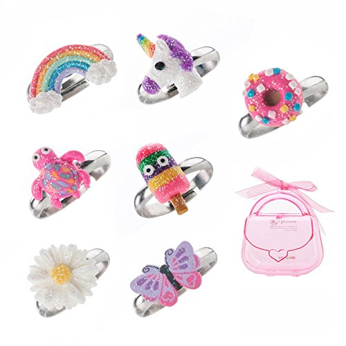 minihope Adjustable Rings Set for Little Girls - Colorful Cute Unicorn Butterfly Rings for Kids, Children's Jewelry Set of 7 - Girl Jewelry