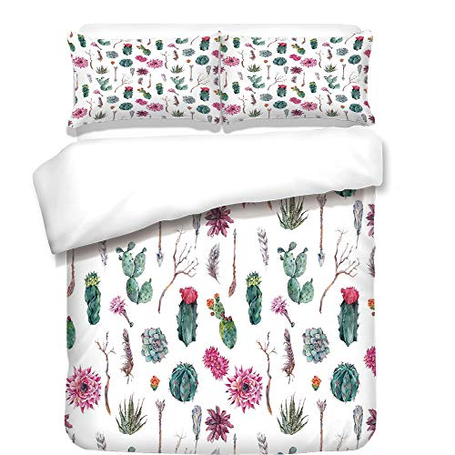 Duvet Cover Set,Cactus Decor,Vintage Botanical Pattern Arrows Feathers Succulent Twigs Hawaii Spring Tropic Decorative,Multicolor,Best Bedding Gifts for Family Or Friends by iPrint