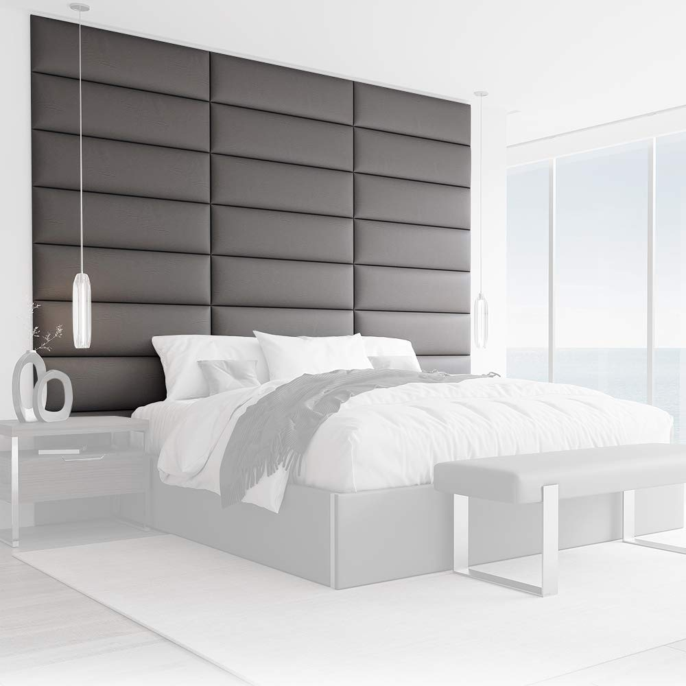 """Vänt Upholstered Wall Panels - King/Cal King Size Wall Mounted Headboards - Vitage Leather Gray Pewter - Pack of 4 Panels (Each Individual Panel 39""""x11.5"""")"""