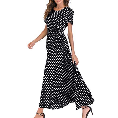 Kawaiine Women O-Neck Polka Dots Short Sleeve Beach Polka Dot Bandage Long Maxi Dress Black