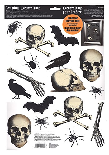 Bats, Skulls, Crows and Spiders Halloween Window Clings -