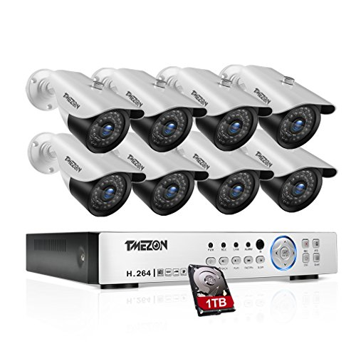 TMEZON 8 Channel 1080P AHD Security Cameras System w/8x HD 2.0MP Day Night vision Indoor/Outdoor CCTV surveillance Camera Quick Remote Access Setup Free App Including 1TB (10 Channel Vga Video Splitter)