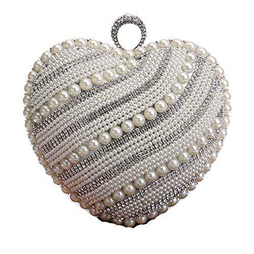 - Wedding Beadeding Evening Bag Chain Shoulder Handbags Heart Girl'S Day Clutch Purse,Ym1083Silver