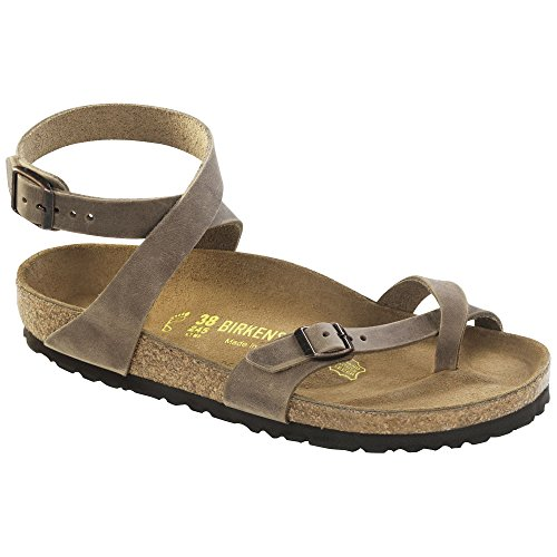 (Birkenstock Women's Yara Sandal Tobacco Oiled Leather Size 39 M)