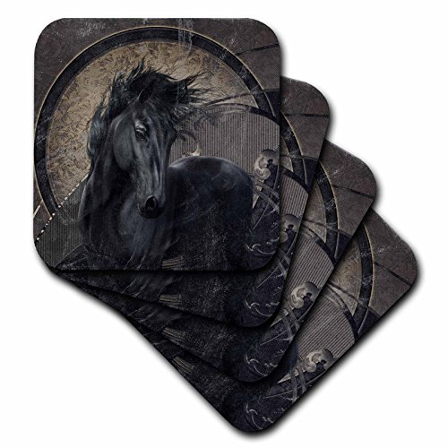 3dRose-A-glorious-Friesian-horse-in-gothic-look-Ceramic-Tile-Coasters-set-of-4-cst2519763
