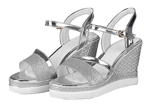 Color Blend Women's High EGHLH005609 Assorted WeiPoot Silver Materials Heels Sandals qB7pHwgw