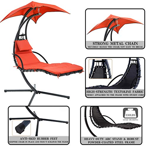 Hammock with Stand Lounge Chair Outdoor Chair Patio Swing Chair for Adults Backyard Garden Hanging Chairs Free Standing Floating Bed Furniture
