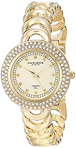 Akribos XXIV Women's AK804YG Gold-Tone Metal Watch with Link Bracelet (Gold Tone Metal Watch)