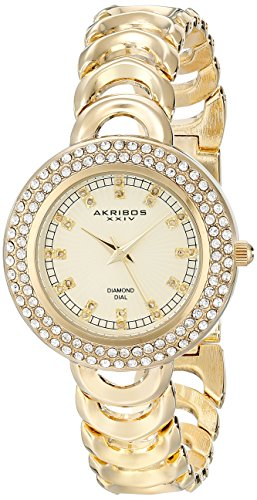 Akribos XXIV Women's AK804YG Gold-Tone Metal Watch with Link Bracelet