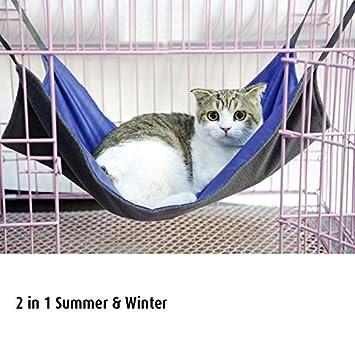 2 en 1 verano & invierno reversible mascota gato jaula hamaca conejo gato colgante cama gato