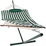 Sunnydaze Green and White Stripe Cotton Rope Hammock with 12 Foot Steel Stand, Pad and Pillow-275 Pound Capacity