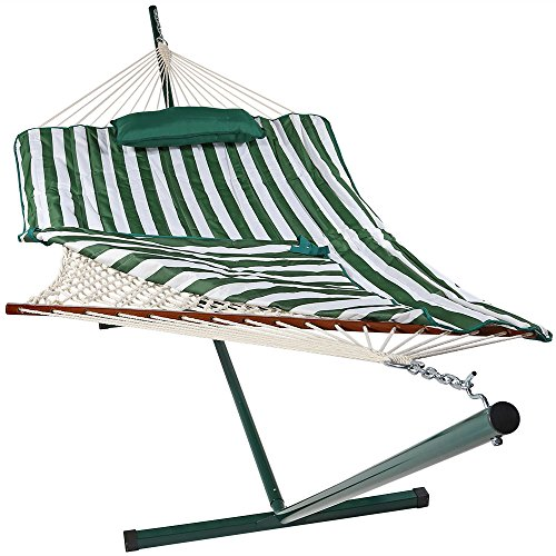 Sunnydaze Cotton Rope Hammock with 12 Foot Portable Steel Stand and Spreader Bar, Indoor or Outdoor Use, Pad and Pillow Included, Green & White Stripe]()