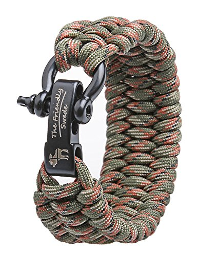 The Friendly Swede Trilobite Extra Beefy 550 lb Paracord Survival Bracelet with Stainless Steel Black Bow Shackle, Available in 3 Adjustable Sizes (Army Green Camo, fits 6