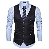 Cyparissus Men's Business Dress VestFormal Suit Vest Button Down Vest Waistcoat For Suit or Tuxedo (L, Black 1#)