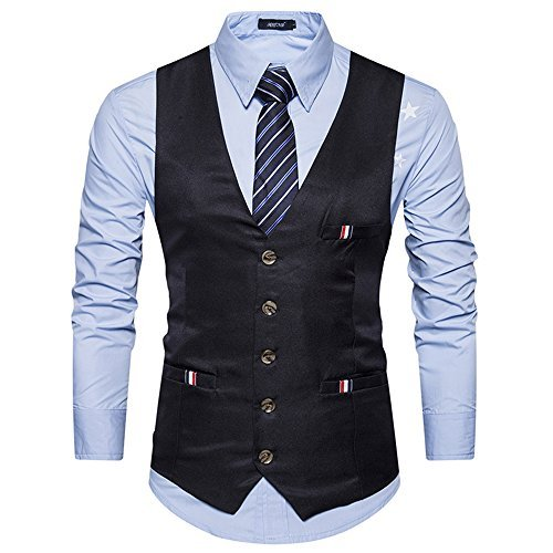 Cyparissus Men's Business Dress Vest Formal Suit Vest Button Down Vest Waistcoat For Suit or Tuxedo (L, Black 1#) by Cyparissus