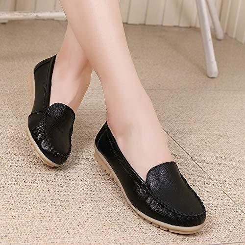 Mocassins Femme Course Flats Seasons En Noir Alikeey De Chaussures Four Running Véritable Shoe Cuir Trail On Femmes Slip PqFxqdwU0