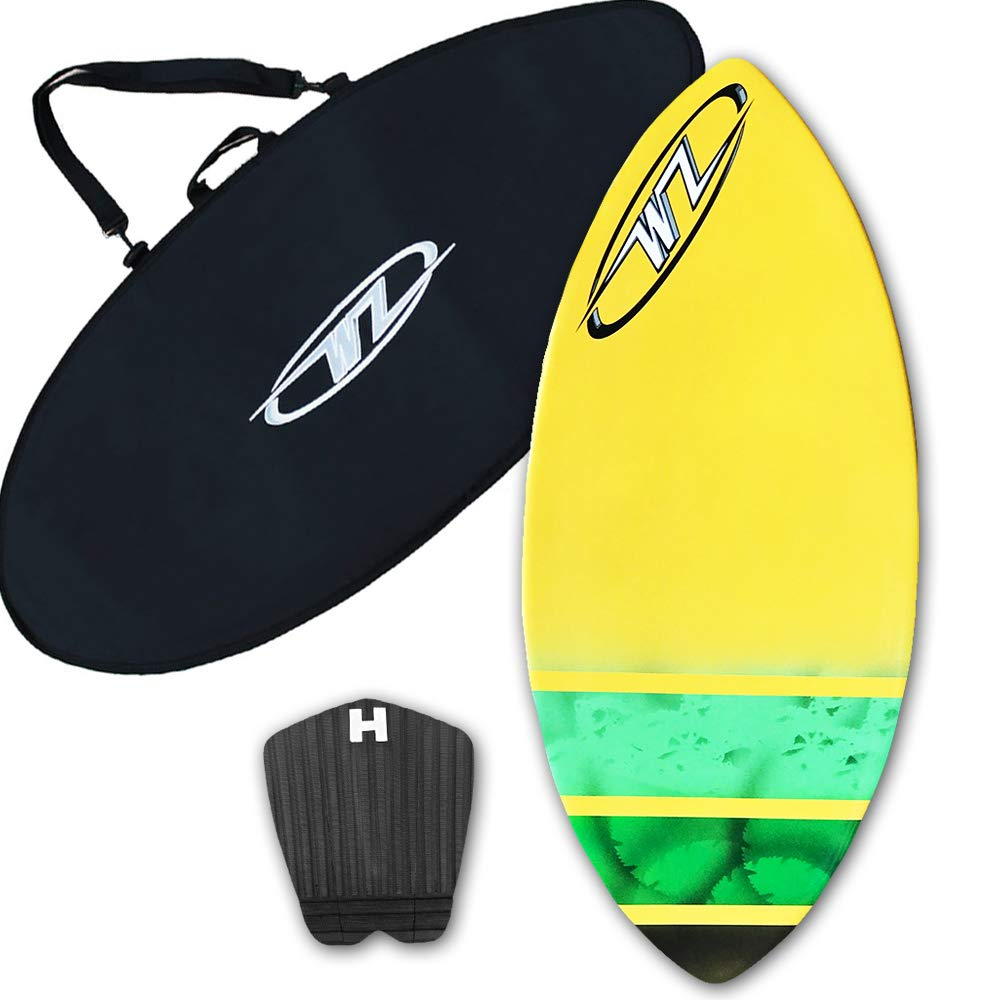 スキムボードパッケージ - イエロー - 45インチ ファイバーグラス ウェーブゾーン サージプラス ボードバッグおよび/またはトラクションパッド - 160ポンドまでのライダー用  Board + Traction + Bag