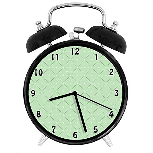 22yiihannz Rhombus and Squares with Stripes and Flowers Geometric Arrangement,Battery Operated Quartz Ring Alarm Clock for Home,Office,Bedroom,Pale Green White_4inch