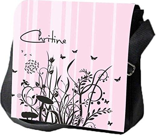 Schultertasche Umhängetasche Handtasche personalisiertes Geschenk Ranke Blume Blüte Schmetterling Party