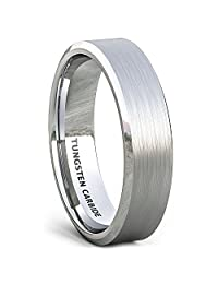 Mens Wedding Band 6mm Classic Brushed Tungsten Ring Beveled Edge Comfort Fit
