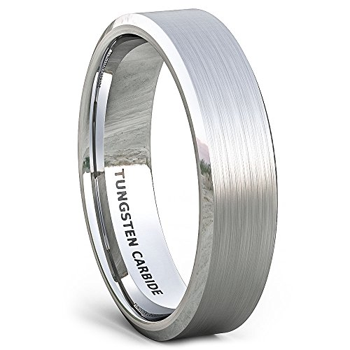 Duke Collections 6mm Classic Brushed Tungsten Ring Classic Mens Wedding BandsBeveled Edge Comfort Fit (9.5)