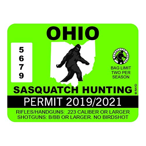 "RDW Ohio Sasquatch Hunting Permit - Color Sticker - Decal - Die Cut - Size: 4.00"" x 3.00"""