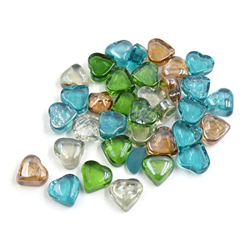 uxcell 500g Multicolor Glass Heart Shaped Fish Tank Aquarium Decor Pebble Bead Stones (14mm 1 Glass Bead)