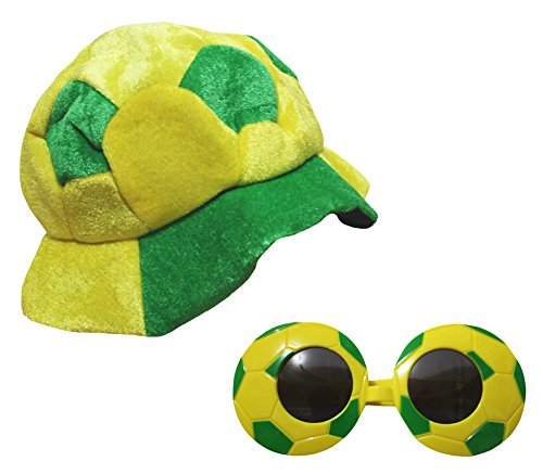 Petitebella Soccer Theme Yellow Green Soccer Hat With Glass For Unisex Children
