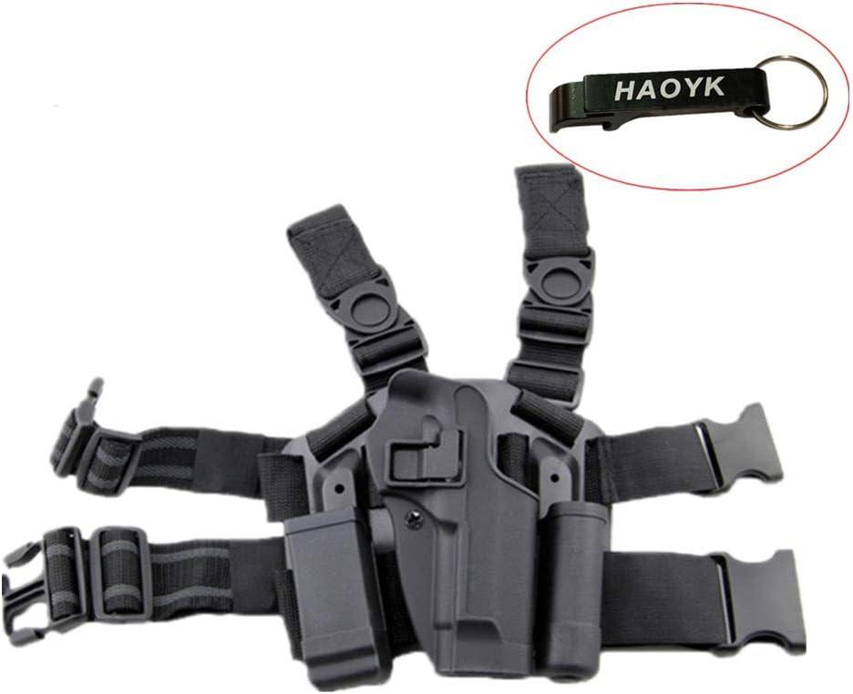 haoYK Ajustable táctico Airsoft Pistola Gota Holster Bolsa Muslo Pierna Derecha Holster con Compartimiento Torch Pouch para M9 M92 - Llavero Incluido