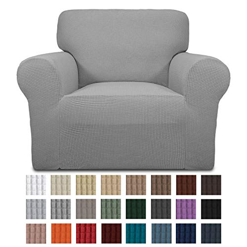 Easy-Going Stretch Chair Sofa Slipcover 1-Piece Couch Sofa Cover Furniture Protector Soft with Elastic Bottom for Kids. Spandex Jacquard Fabric Small Checks(Chair,Light Gray)