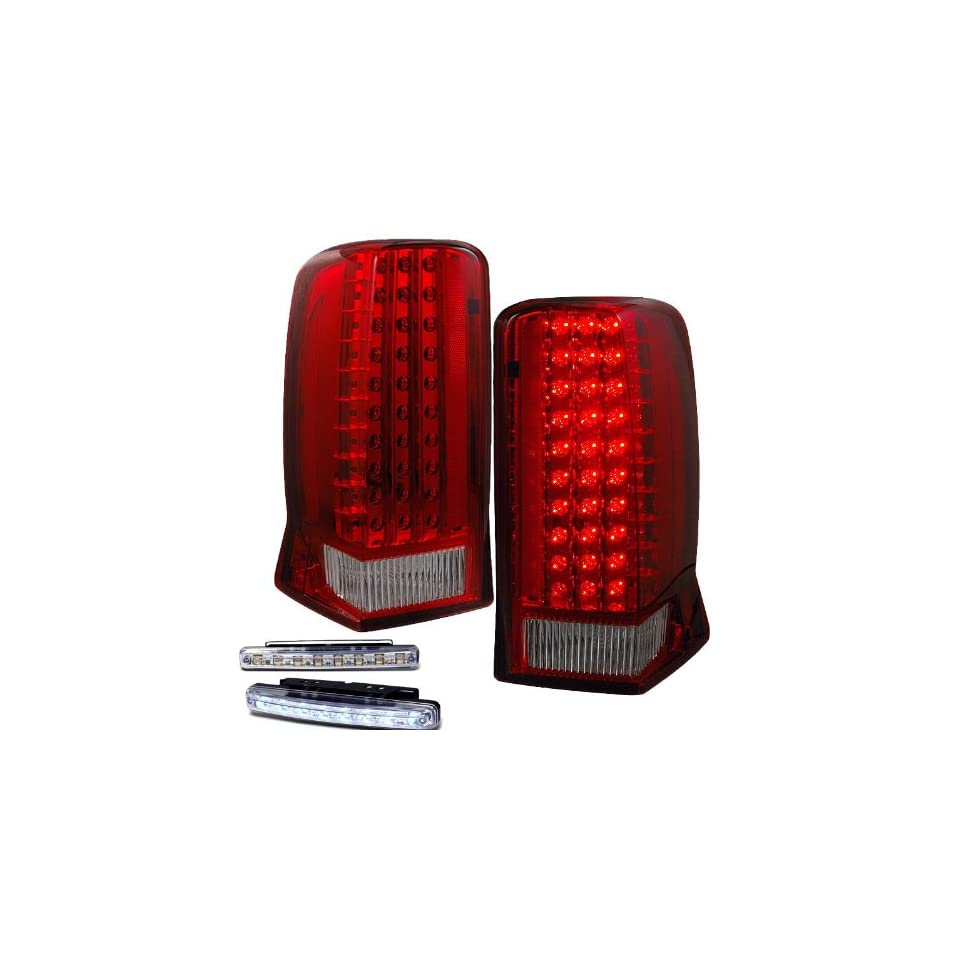 2002 2006 CADILLAC ESCALADE REAR BRAKE TAIL LIGHTS RED/CLEAR+LED BUMPER RUNNING