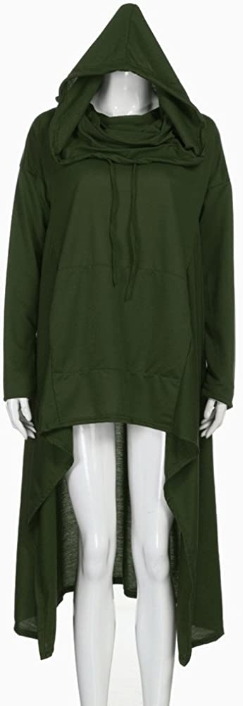 Fanteecy Women Pullover Hoodies Sweatshirt Long Sleeve Oversize Top Shirt Dress Asymmetric Hem Sweatshirts S-5XL
