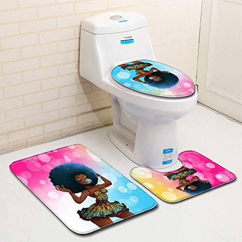 Hot Sale!DEESEE(TM)African Women With Purple Hair Skidproof Toilet Seat Cover Bath Mat Lid Cover (A)