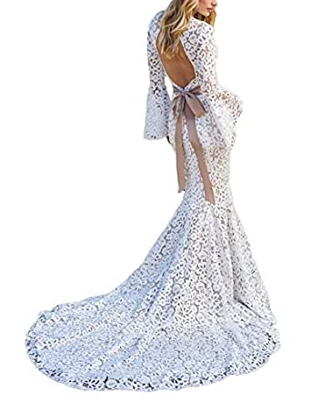 Sogala Women's Lace Wedding Dresses for Bride 2018 Long Sleeves Backless Mermaid