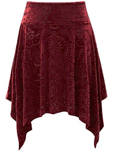 Rouge Bordeaux Uni Killstar Jupe Femme q8nTz