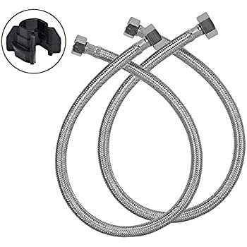1//2-inch FIP x 1//2-inch FIP Braided Stainless Steel Supply Hose Line Eastman 48019 30-Inch Length Flexible Faucet Connector