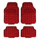 JVL Titan Metallic Universal Rubber Backed Car Mat Set, 4 Pieces, Red